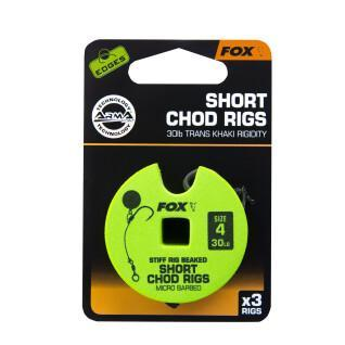 Monofilament Fox 30lb Short Chod Rig Barbed taille 4